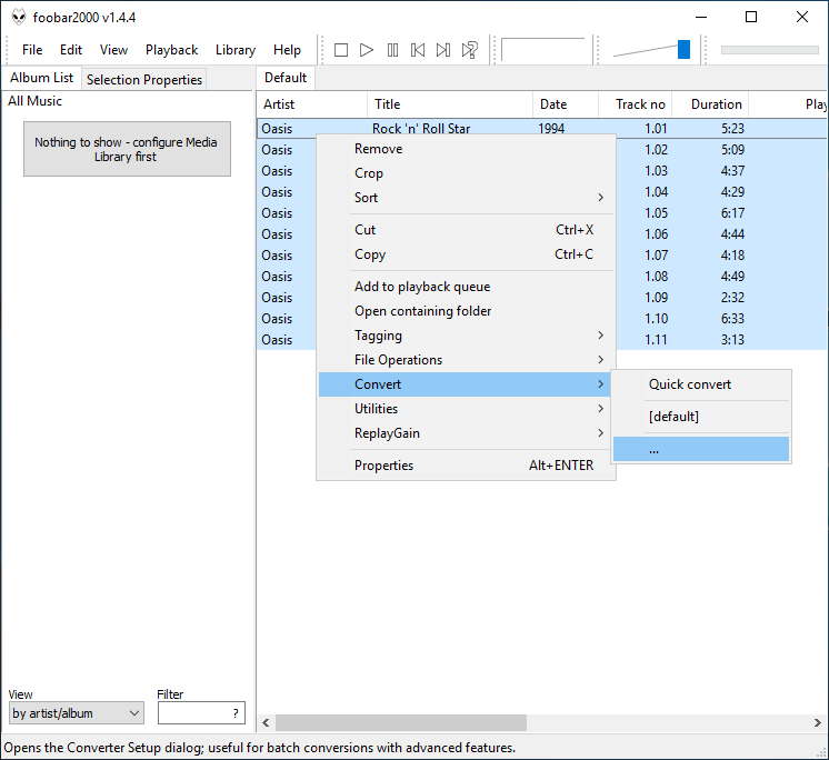 How to convert FLAC files to MP3 using foobar2000